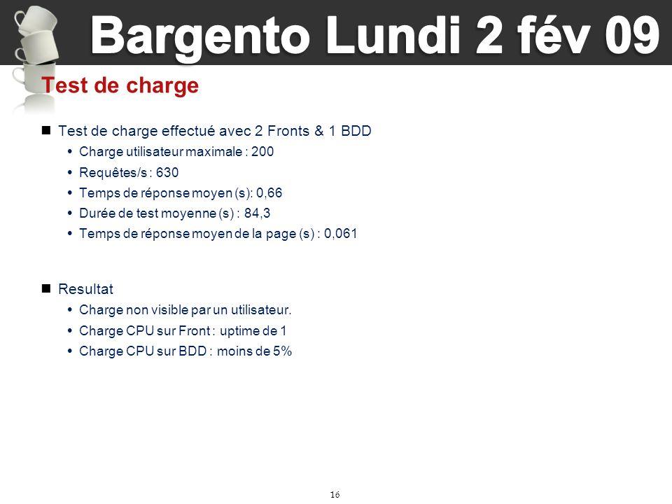 16 Test de charge Test de charge effectué avec 2 Fronts & 1 BDD Charge utilisateur maximale : 200 Requêtes/s : 630 Temps de réponse moyen (s): 0,66 Du