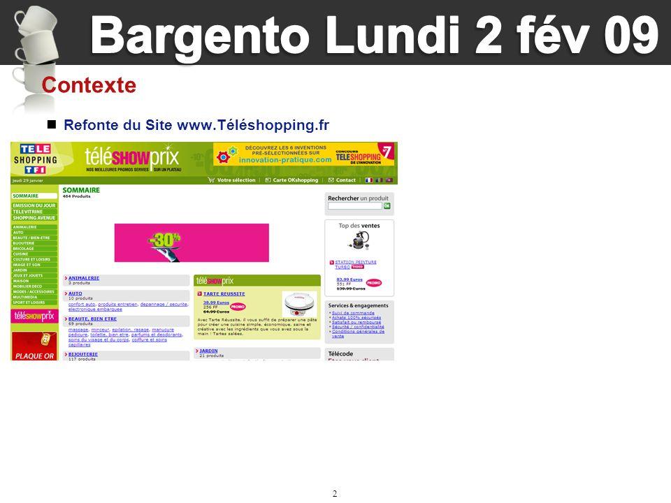 2 Refonte du Site www.Téléshopping.fr Contexte