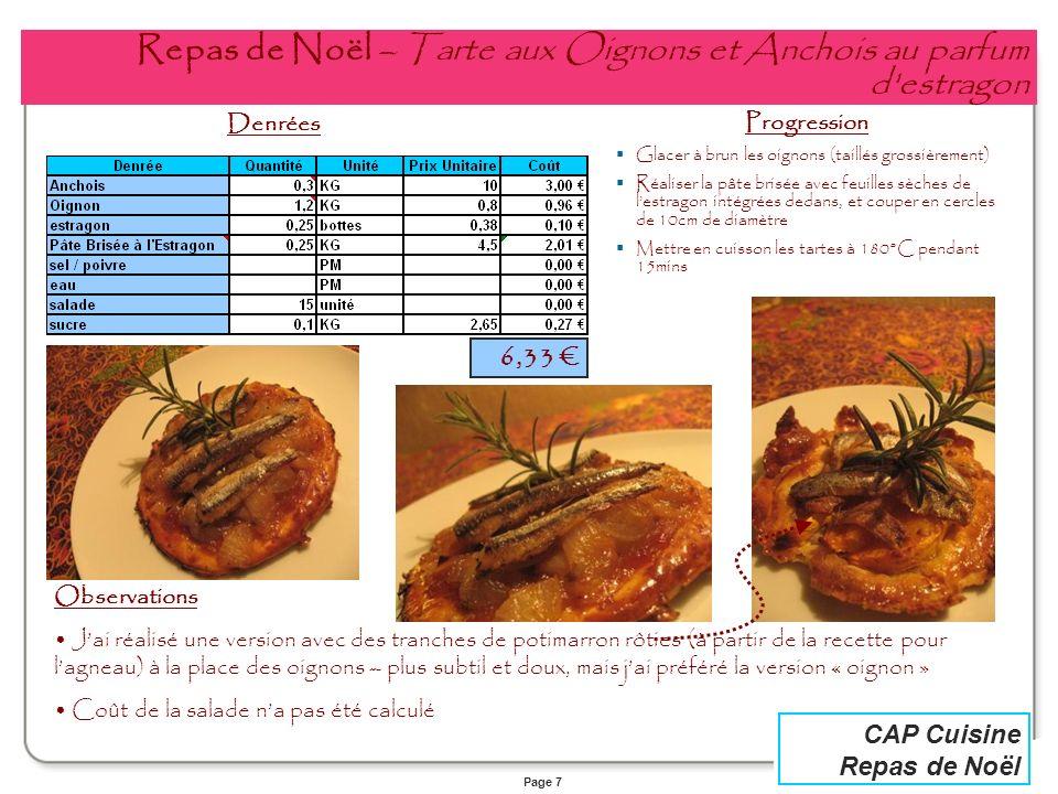 Page 7 CAP Cuisine Repas de Noël Repas de Noël – Tarte aux Oignons et Anchois au parfum d'estragon Denrées Progression Glacer à brun les oignons (tail