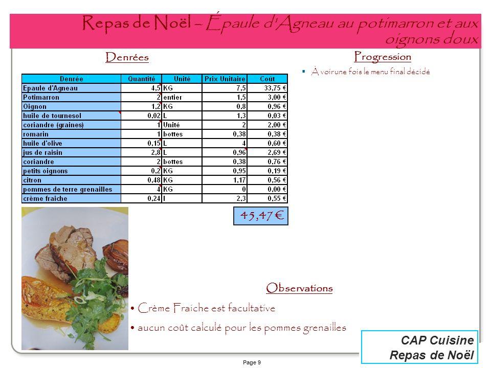 Page 9 CAP Cuisine Repas de Noël Repas de Noël – Épaule d'Agneau au potimarron et aux oignons doux Denrées Progression À voir une fois le menu final d