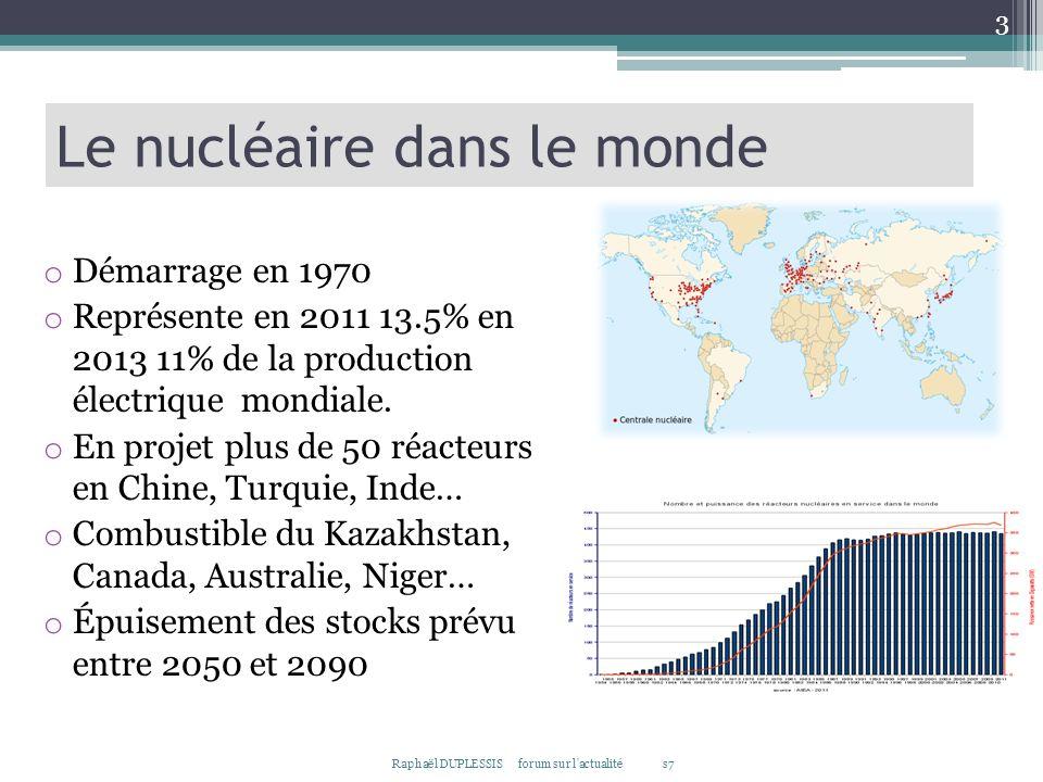 3 Le nucléaire dans le monde o Démarrage en 1970 o Représente en 2011 13.5% en 2013 11% de la production électrique mondiale. o En projet plus de 50 r