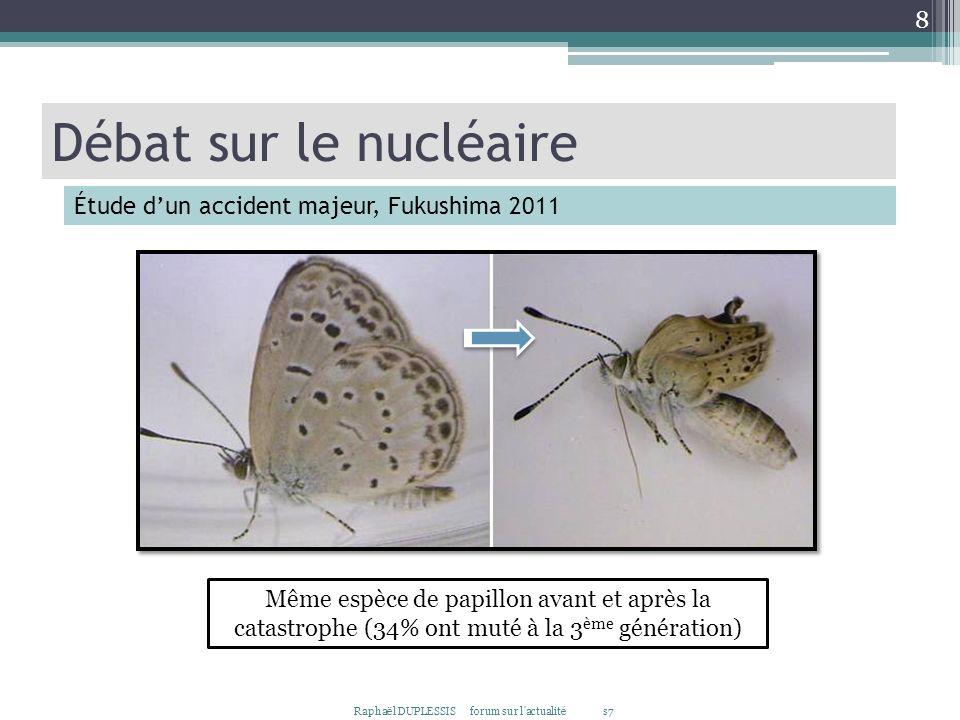 Raphaël DUPLESSIS forum sur l'actualité s7 8 Même espèce de papillon avant et après la catastrophe (34% ont muté à la 3 ème génération) Débat sur le n