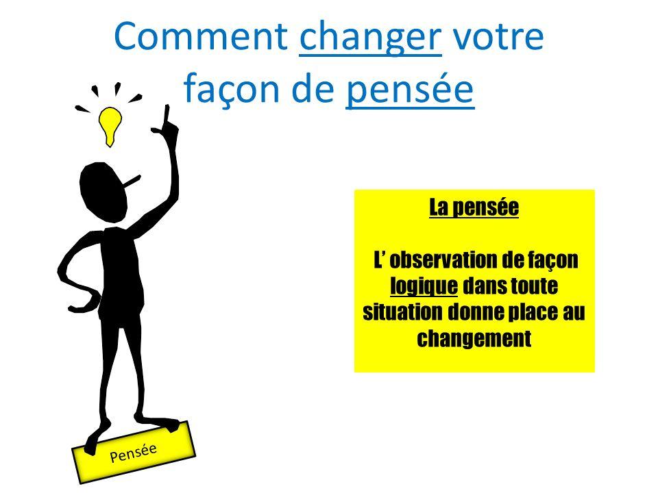 Comment changer votre façon de pensée Pensée La pensée L observation de façon logique dans toute situation donne place au changement