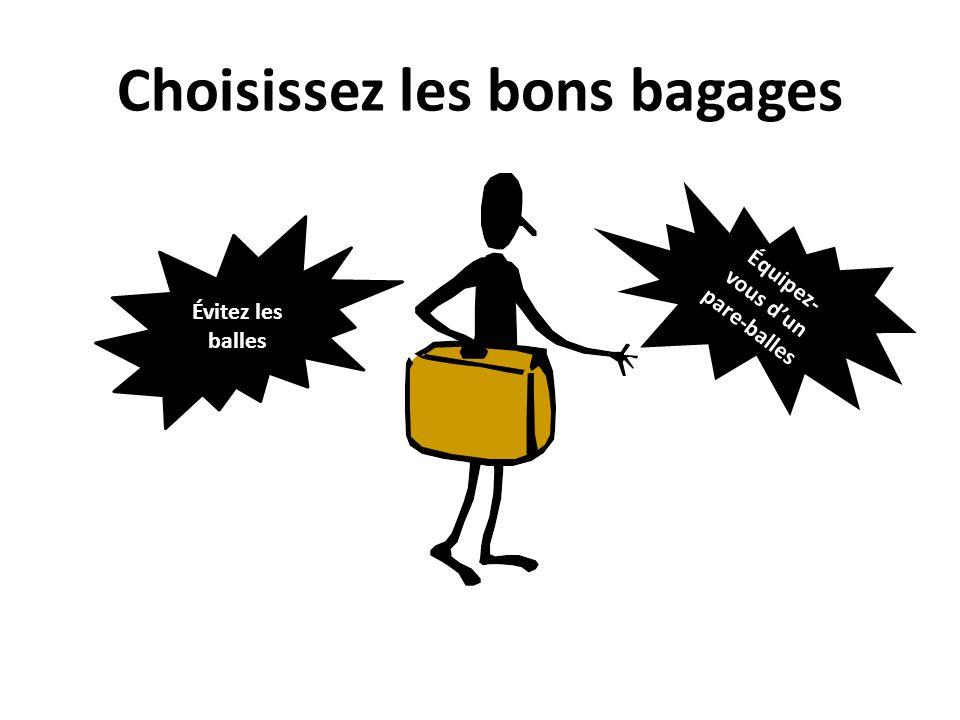 Choisissez les bons bagages Évitez les balles Équipez- vous dun pare-balles