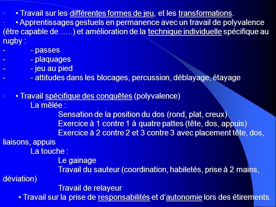 · Travail sur les différentes formes de jeu, et les transformations. · Apprentissages gestuels en permanence avec un travail de polyvalence (être capa