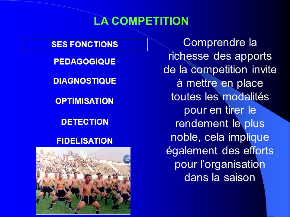 LA COMPETITION SES FONCTIONS PEDAGOGIQUE DIAGNOSTIQUE OPTIMISATION DETECTION FIDELISATION Comprendre la richesse des apports de la competition invite