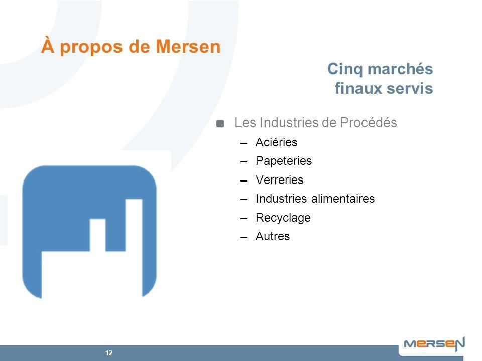 12 Les Industries de Procédés –Aciéries –Papeteries –Verreries –Industries alimentaires –Recyclage –Autres Cinq marchés finaux servis À propos de Mers