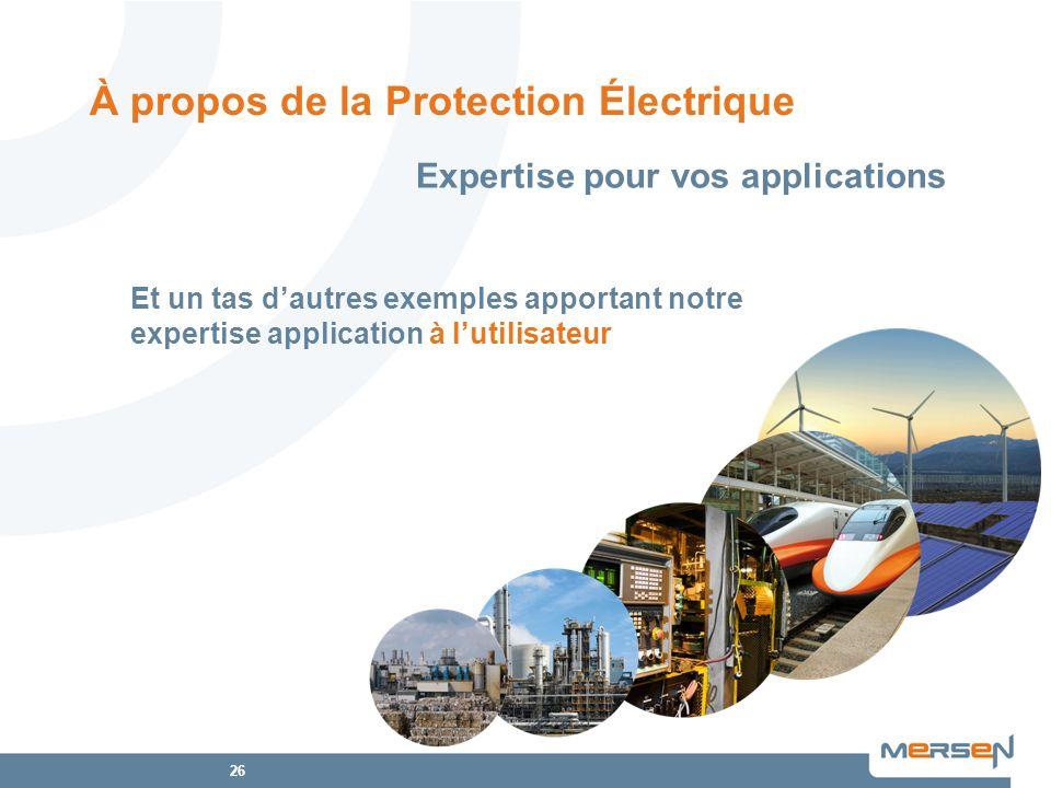 26 Et un tas dautres exemples apportant notre expertise application à lutilisateur À propos de la Protection Électrique Expertise pour vos application