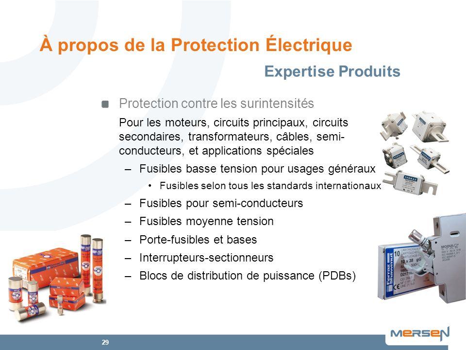 29 Protection contre les surintensités Pour les moteurs, circuits principaux, circuits secondaires, transformateurs, câbles, semi- conducteurs, et app