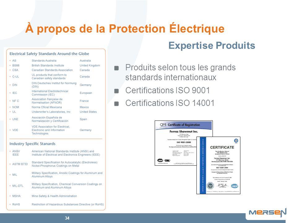 34 Produits selon tous les grands standards internationaux Certifications ISO 9001 Certifications ISO 14001 À propos de la Protection Électrique Exper