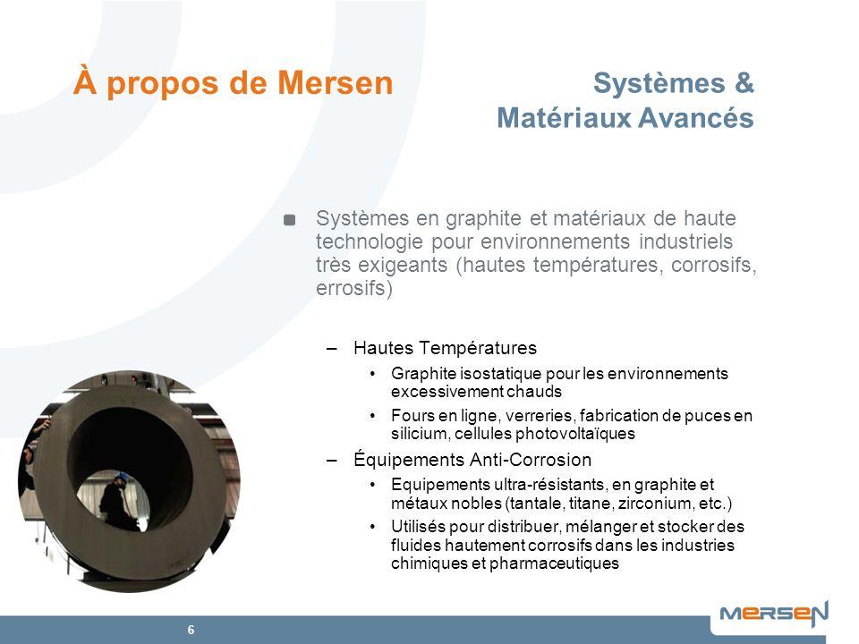 6 Systèmes & Matériaux Avancés Systèmes en graphite et matériaux de haute technologie pour environnements industriels très exigeants (hautes températu