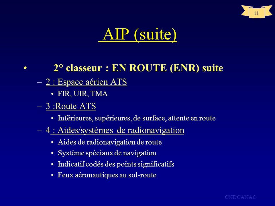 CNE CANAC 11 AIP (suite) 2° classeur : EN ROUTE (ENR) suite –2 : Espace aérien ATS FIR, UIR, TMA –3 :Route ATS Inférieures, supérieures, de surface, a