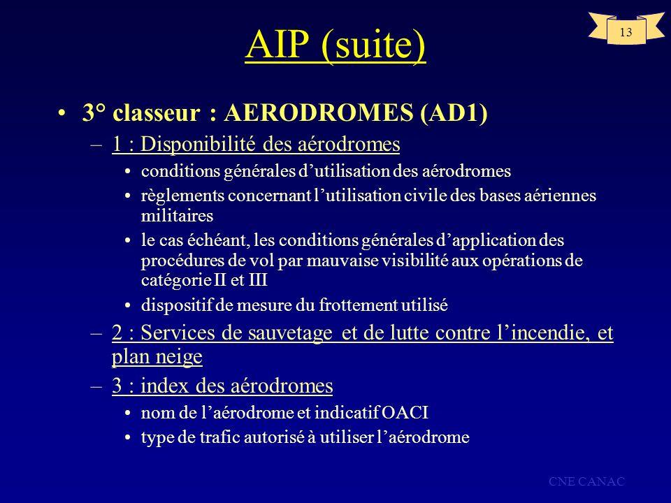 CNE CANAC 13 AIP (suite) 3° classeur : AERODROMES (AD1) –1 : Disponibilité des aérodromes conditions générales dutilisation des aérodromes règlements