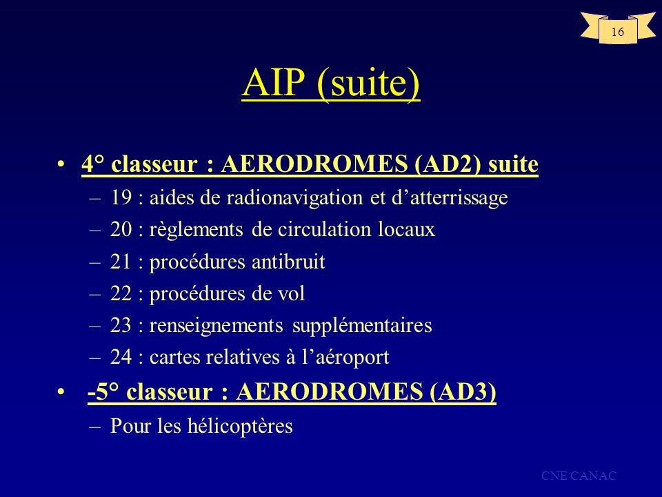 CNE CANAC 16 AIP (suite) 4° classeur : AERODROMES (AD2) suite –19 : aides de radionavigation et datterrissage –20 : règlements de circulation locaux –