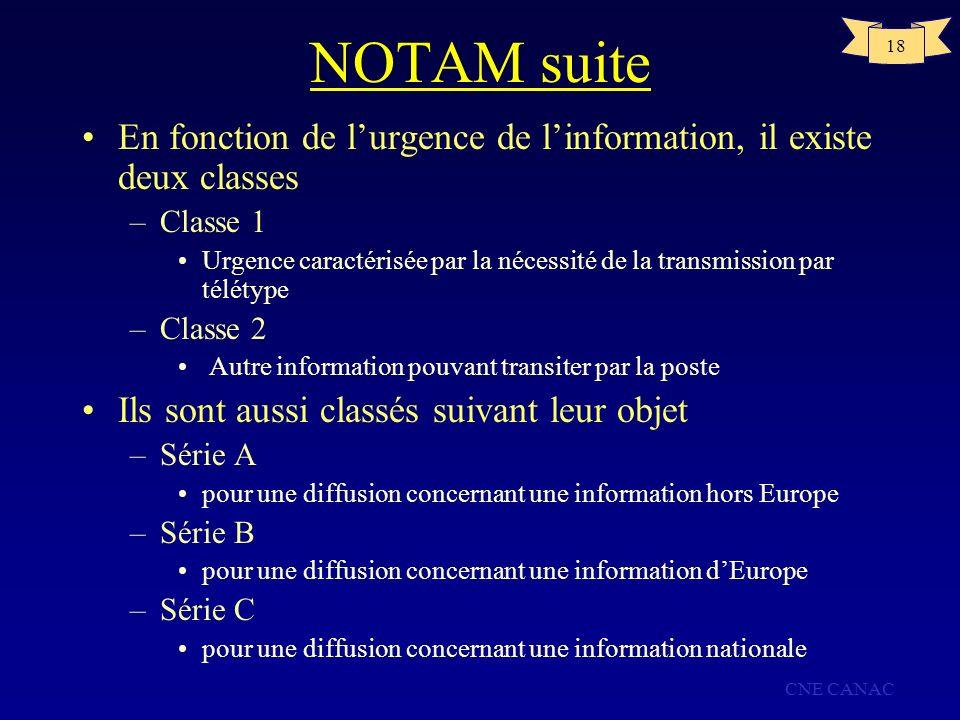 CNE CANAC 18 NOTAM suite En fonction de lurgence de linformation, il existe deux classes –Classe 1 Urgence caractérisée par la nécessité de la transmi