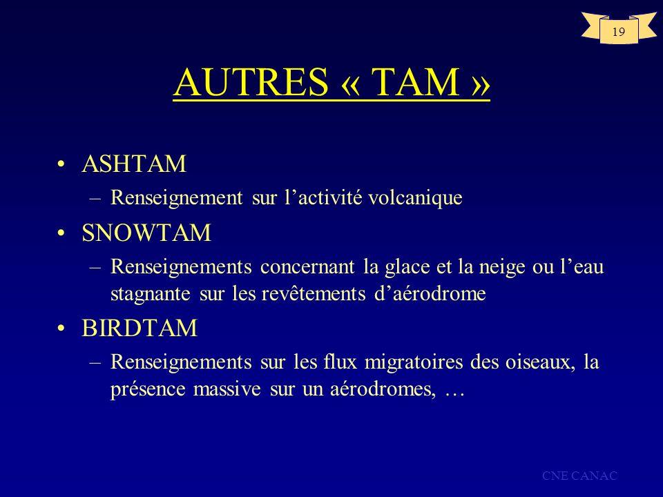 CNE CANAC 19 AUTRES « TAM » ASHTAM –Renseignement sur lactivité volcanique SNOWTAM –Renseignements concernant la glace et la neige ou leau stagnante s