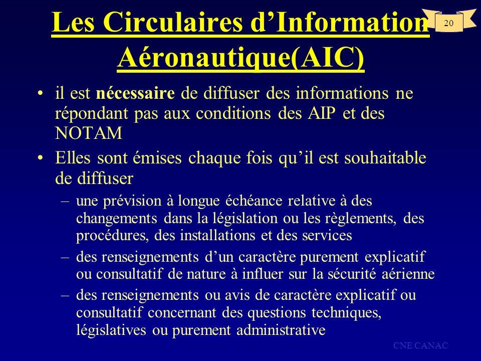 CNE CANAC 20 Les Circulaires dInformation Aéronautique(AIC) il est nécessaire de diffuser des informations ne répondant pas aux conditions des AIP et