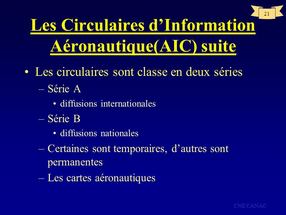 CNE CANAC 21 Les Circulaires dInformation Aéronautique(AIC) suite Les circulaires sont classe en deux séries –Série A diffusions internationales –Séri