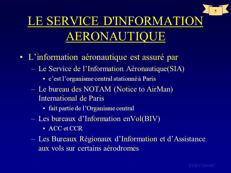 CNE CANAC 5 LE SERVICE D'INFORMATION AERONAUTIQUE Linformation aéronautique est assuré par –Le Service de lInformation Aéronautique(SIA) cest lorganis