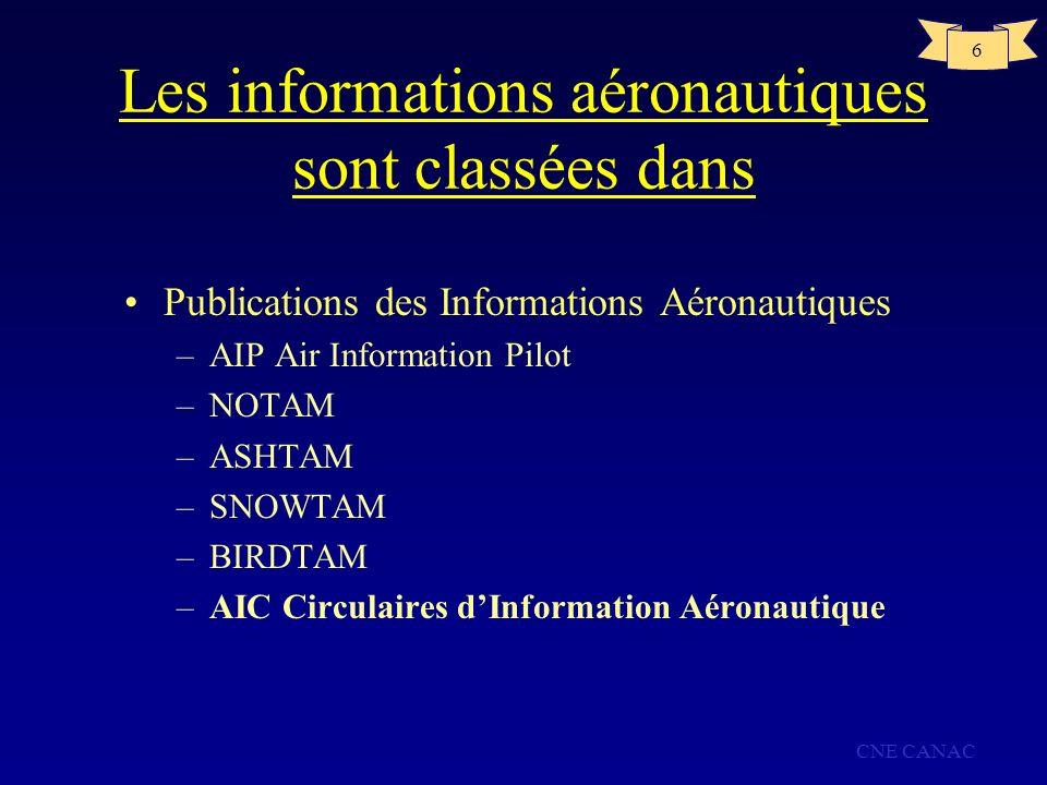 CNE CANAC 6 Les informations aéronautiques sont classées dans Publications des Informations Aéronautiques –AIP Air Information Pilot –NOTAM –ASHTAM –S