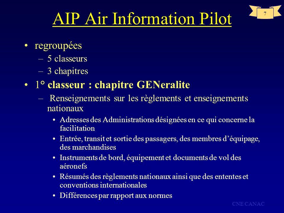 CNE CANAC 7 AIP Air Information Pilot regroupées –5 classeurs –3 chapitres 1° classeur : chapitre GENeralite – Renseignements sur les règlements et en