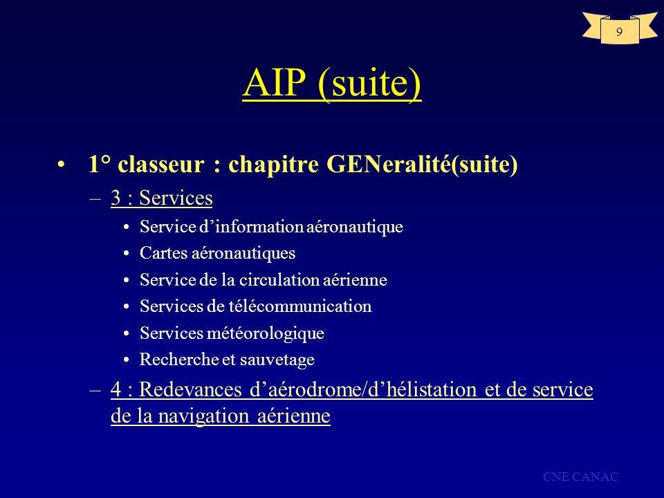 CNE CANAC 9 AIP (suite) 1° classeur : chapitre GENeralité(suite) –3 : Services Service dinformation aéronautique Cartes aéronautiques Service de la ci