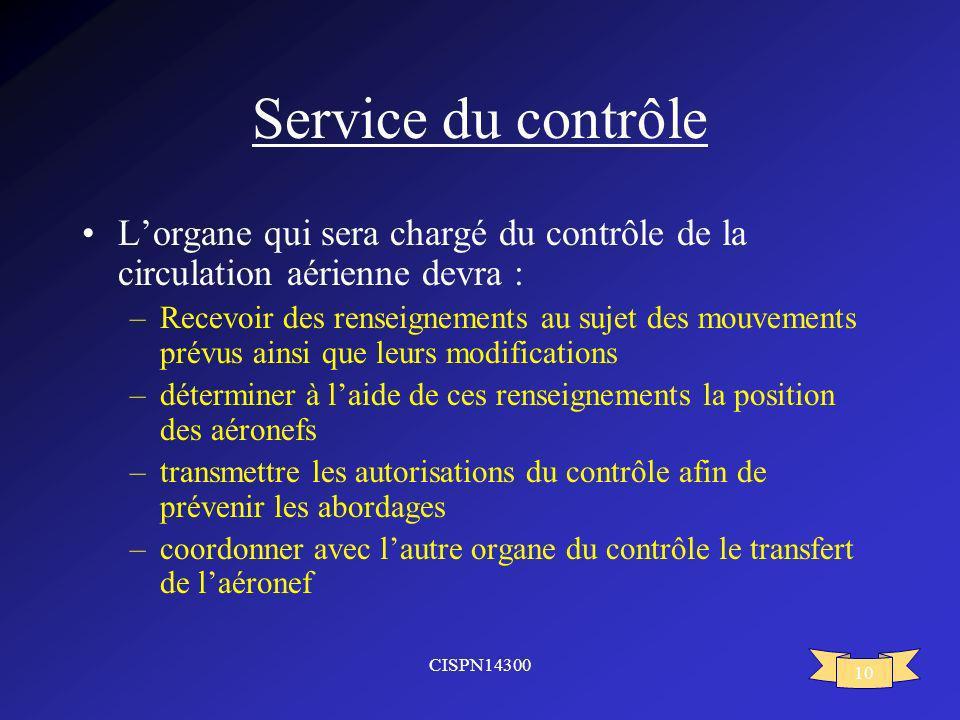 CISPN14300 10 Service du contrôle Lorgane qui sera chargé du contrôle de la circulation aérienne devra : –Recevoir des renseignements au sujet des mou