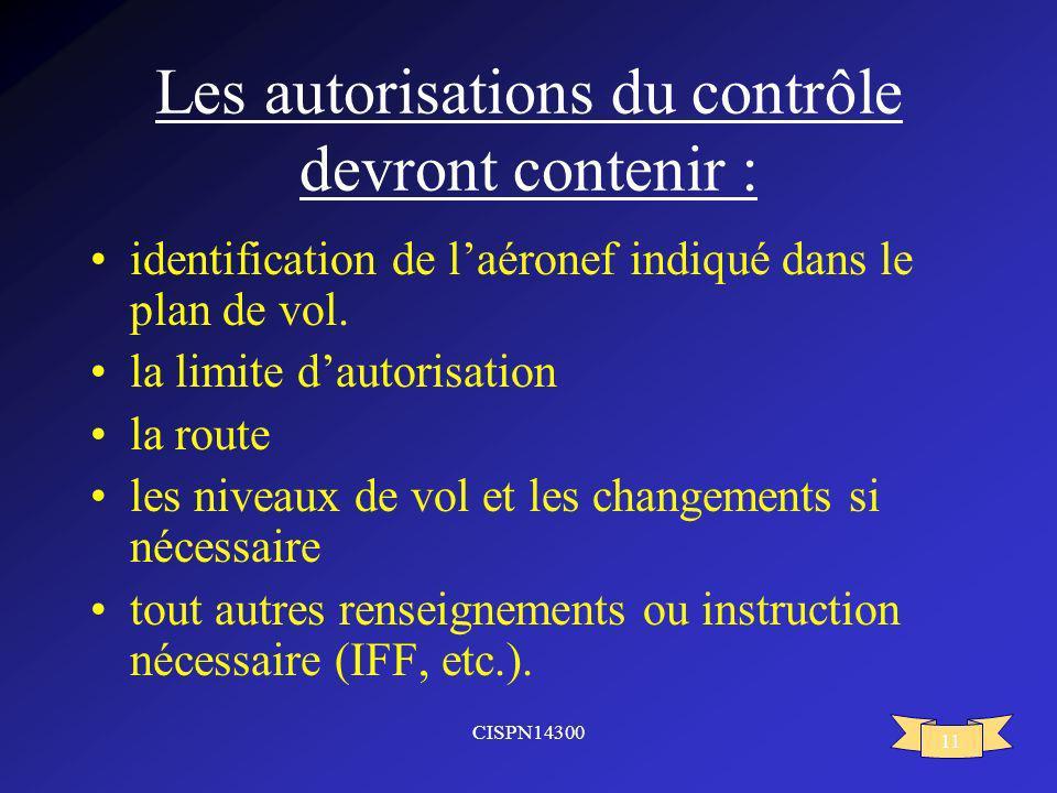 CISPN14300 11 Les autorisations du contrôle devront contenir : identification de laéronef indiqué dans le plan de vol. la limite dautorisation la rout