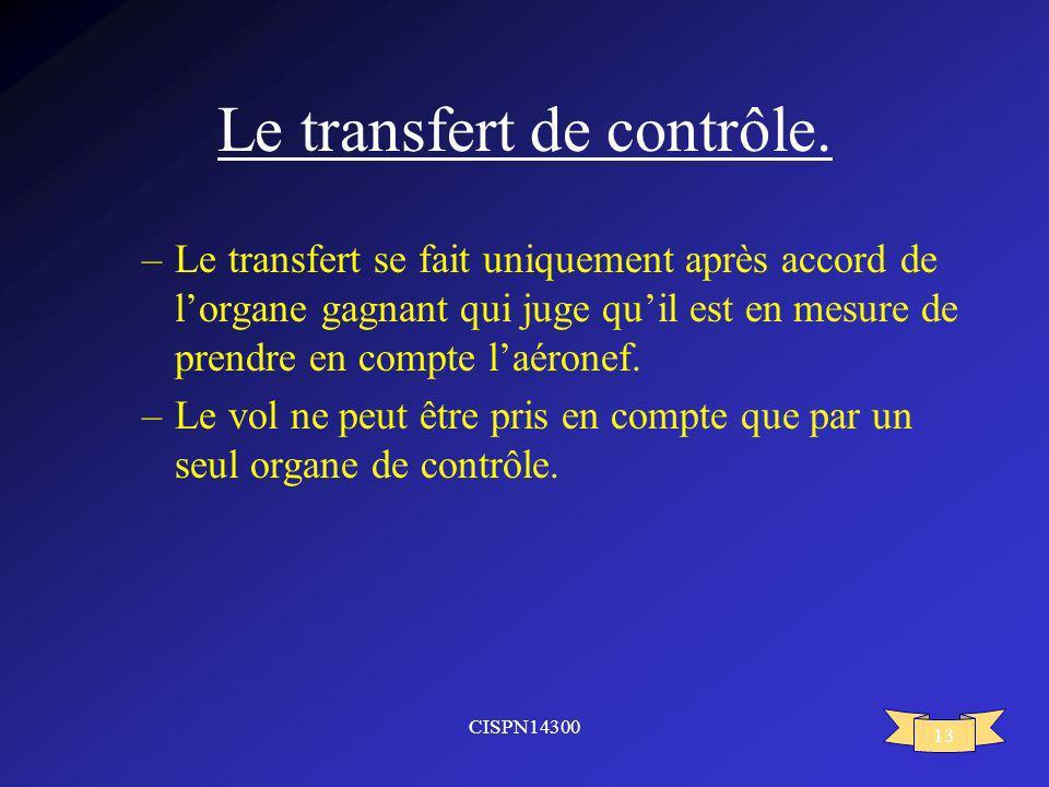 CISPN14300 13 Le transfert de contrôle. –Le transfert se fait uniquement après accord de lorgane gagnant qui juge quil est en mesure de prendre en com