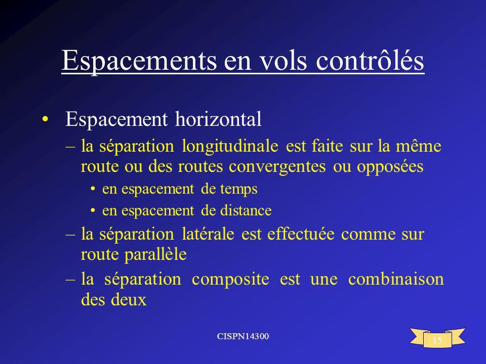 CISPN14300 15 Espacements en vols contrôlés Espacement horizontal –la séparation longitudinale est faite sur la même route ou des routes convergentes