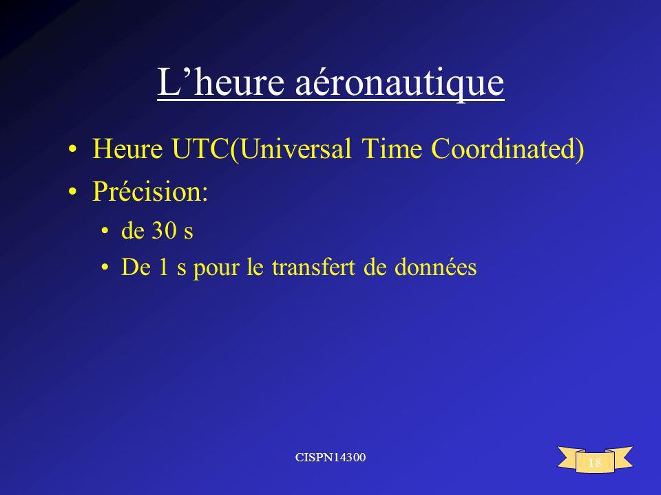CISPN14300 18 Lheure aéronautique Heure UTC(Universal Time Coordinated) Précision: de 30 s De 1 s pour le transfert de données