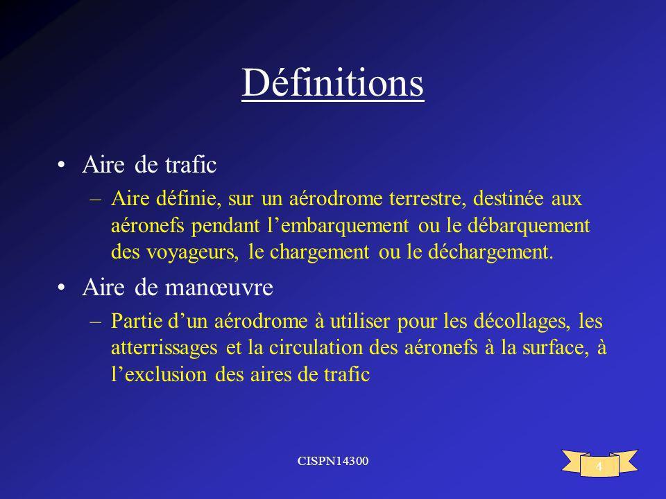 CISPN14300 4 Définitions Aire de trafic –Aire définie, sur un aérodrome terrestre, destinée aux aéronefs pendant lembarquement ou le débarquement des