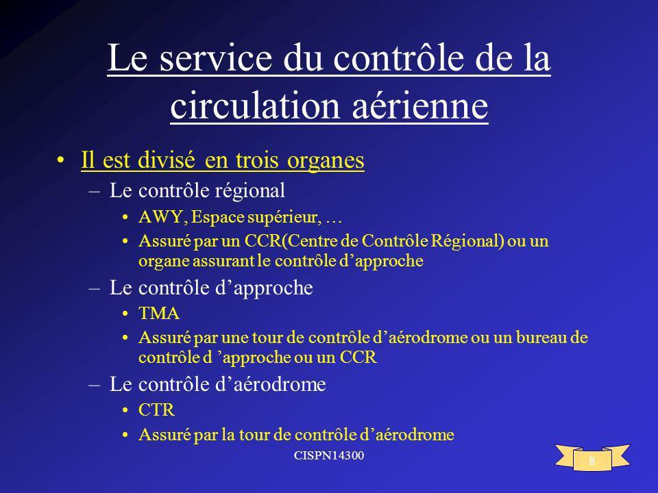 CISPN14300 8 Le service du contrôle de la circulation aérienne Il est divisé en trois organes –Le contrôle régional AWY, Espace supérieur, … Assuré pa