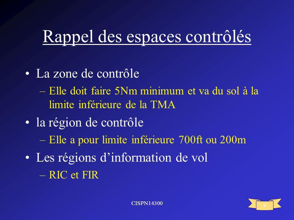 CISPN14300 9 Rappel des espaces contrôlés La zone de contrôle –Elle doit faire 5Nm minimum et va du sol à la limite inférieure de la TMA la région de