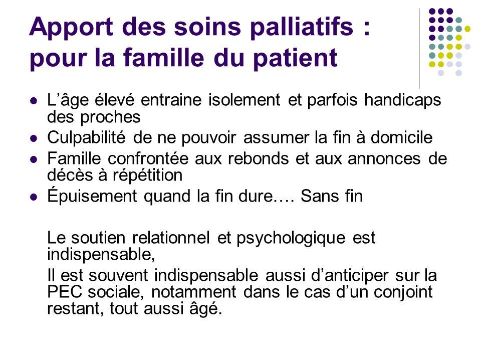 Apport des soins palliatifs : pour la famille du patient Lâge élevé entraine isolement et parfois handicaps des proches Culpabilité de ne pouvoir assu