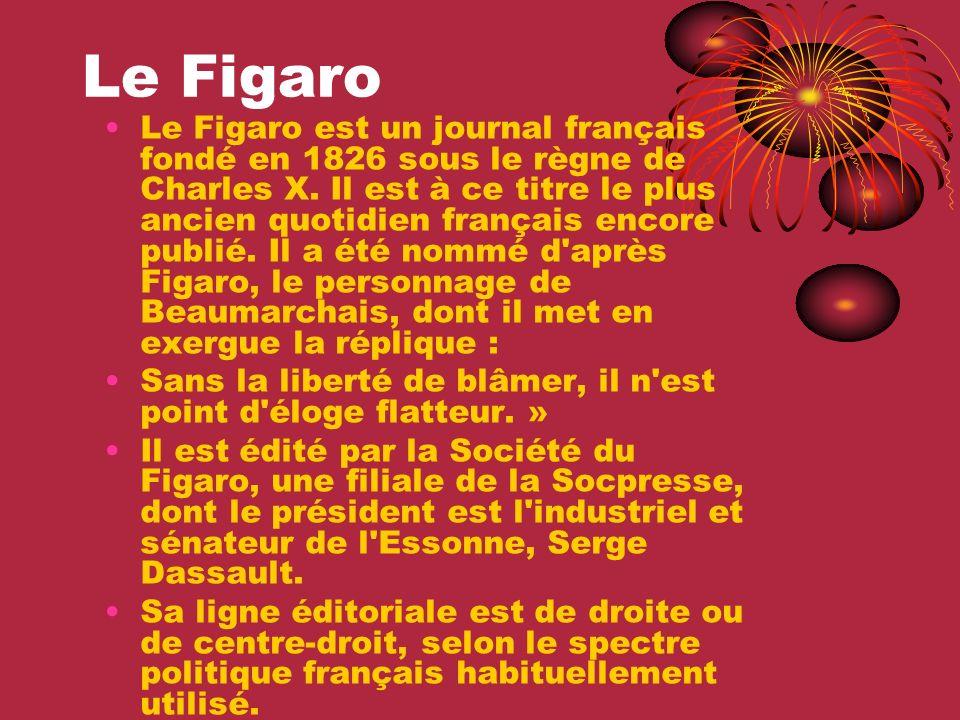 Le Figaro Le Figaro est un journal français fondé en 1826 sous le règne de Charles X. Il est à ce titre le plus ancien quotidien français encore publi