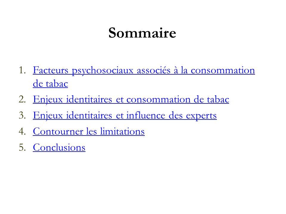 Sommaire 1.Facteurs psychosociaux associés à la consommation de tabacFacteurs psychosociaux associés à la consommation de tabac 2.Enjeux identitaires