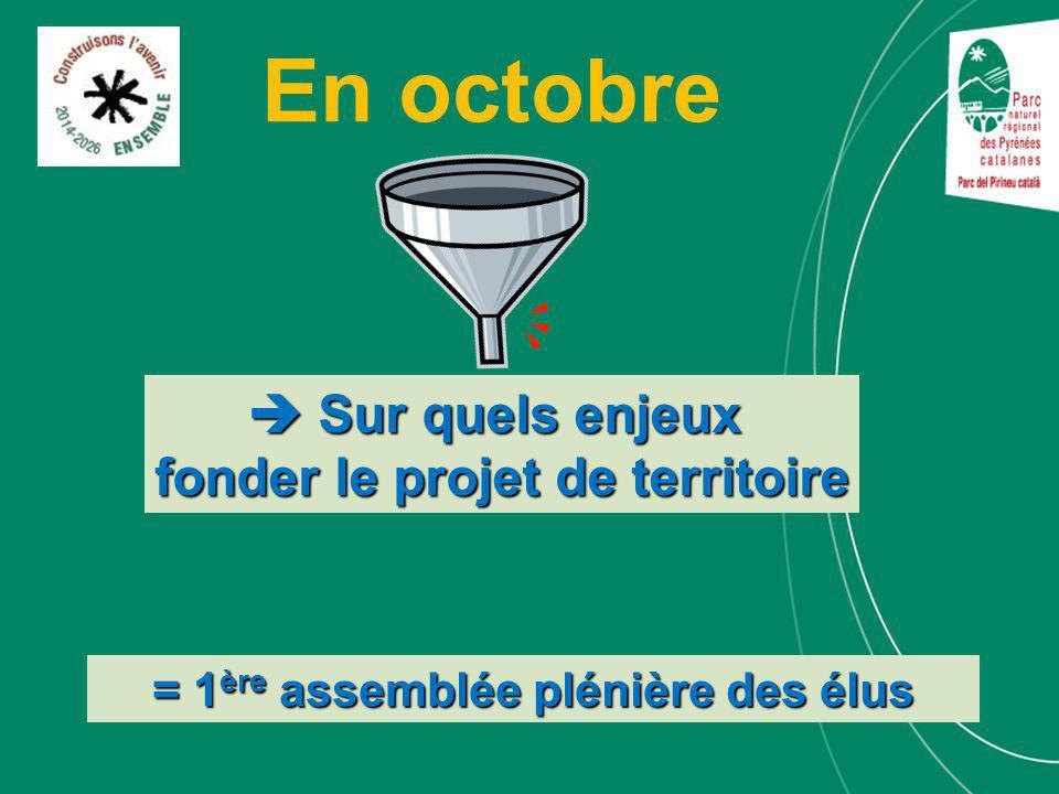 En octobre = 1 ère assemblée plénière des élus Sur quels enjeux Sur quels enjeux fonder le projet de territoire