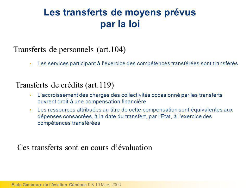 États Généraux de lAviation Générale 9 & 10 Mars 2006 Les transferts de moyens prévus par la loi Laccroissement des charges des collectivités occasion