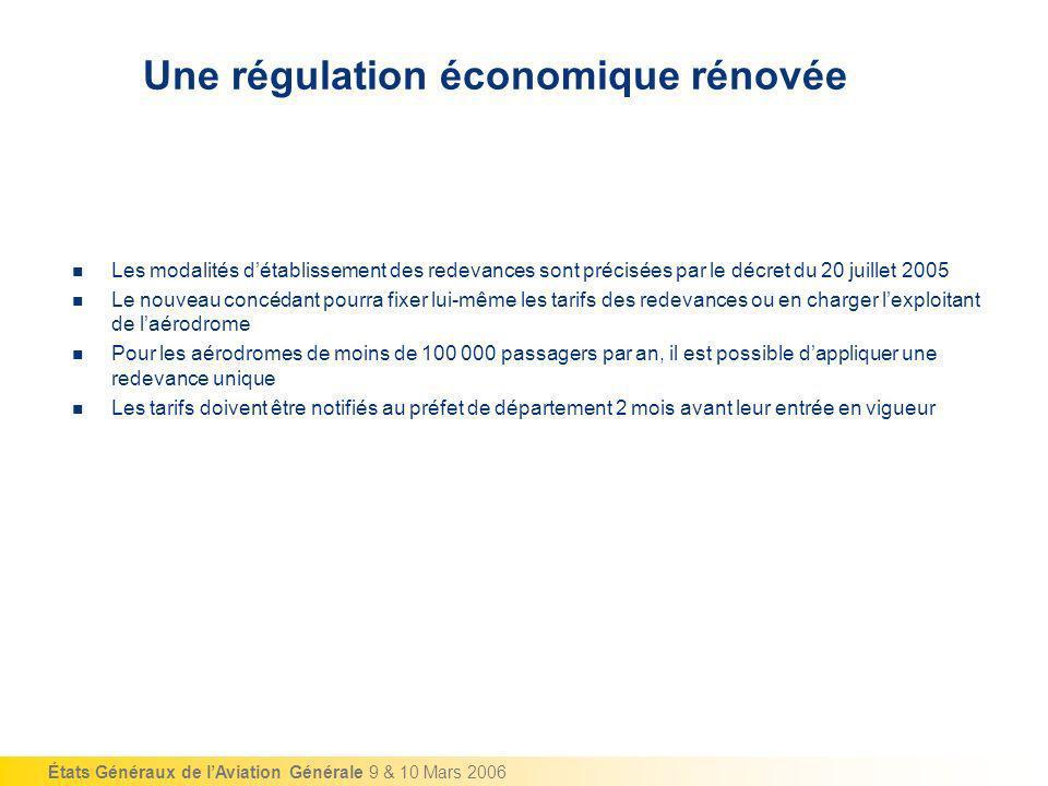 États Généraux de lAviation Générale 9 & 10 Mars 2006 Une régulation économique rénovée Les modalités détablissement des redevances sont précisées par