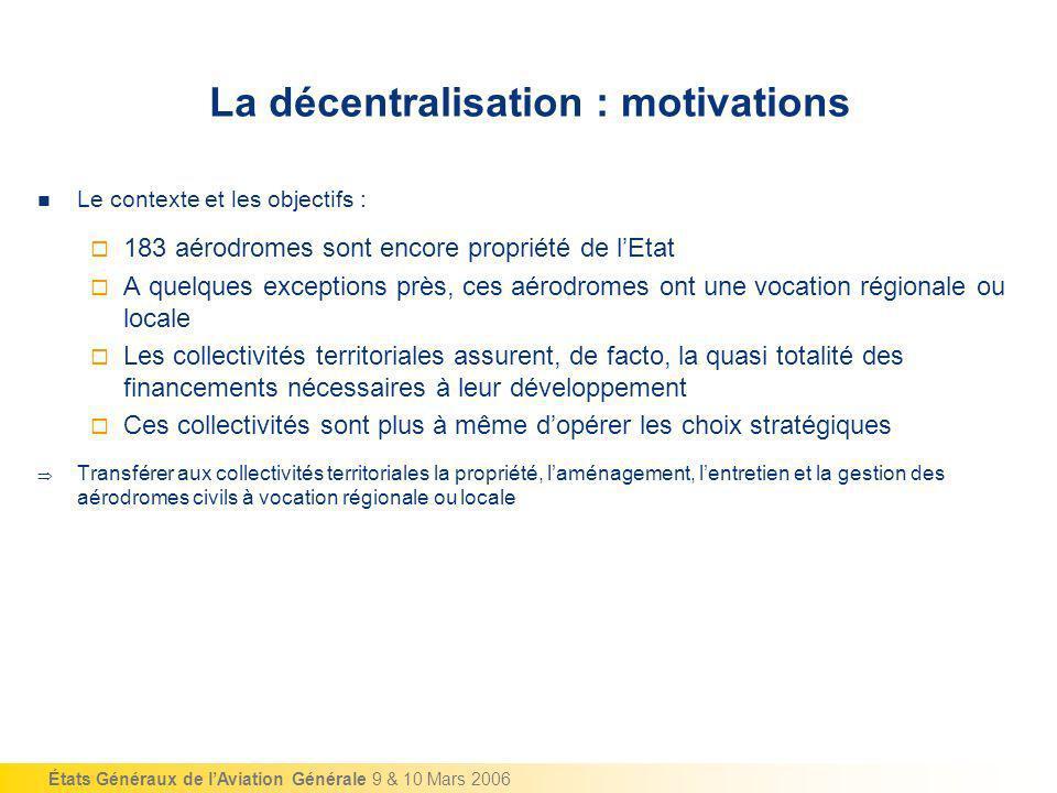 États Généraux de lAviation Générale 9 & 10 Mars 2006 La décentralisation : motivations Le contexte et les objectifs : 183 aérodromes sont encore prop