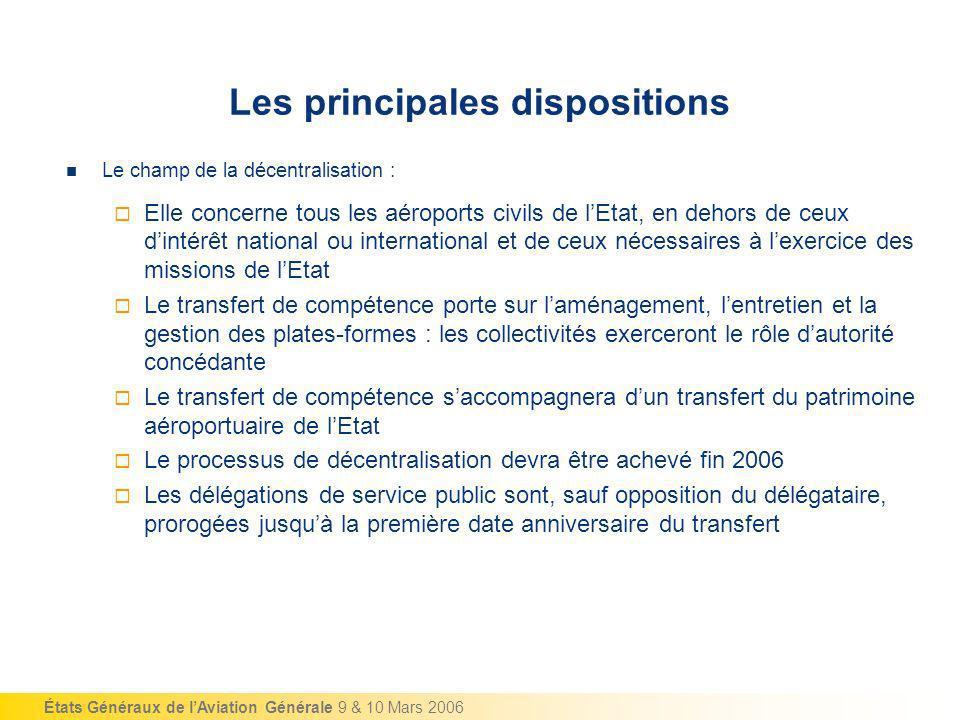 États Généraux de lAviation Générale 9 & 10 Mars 2006 Le champ de la décentralisation : Elle concerne tous les aéroports civils de lEtat, en dehors de
