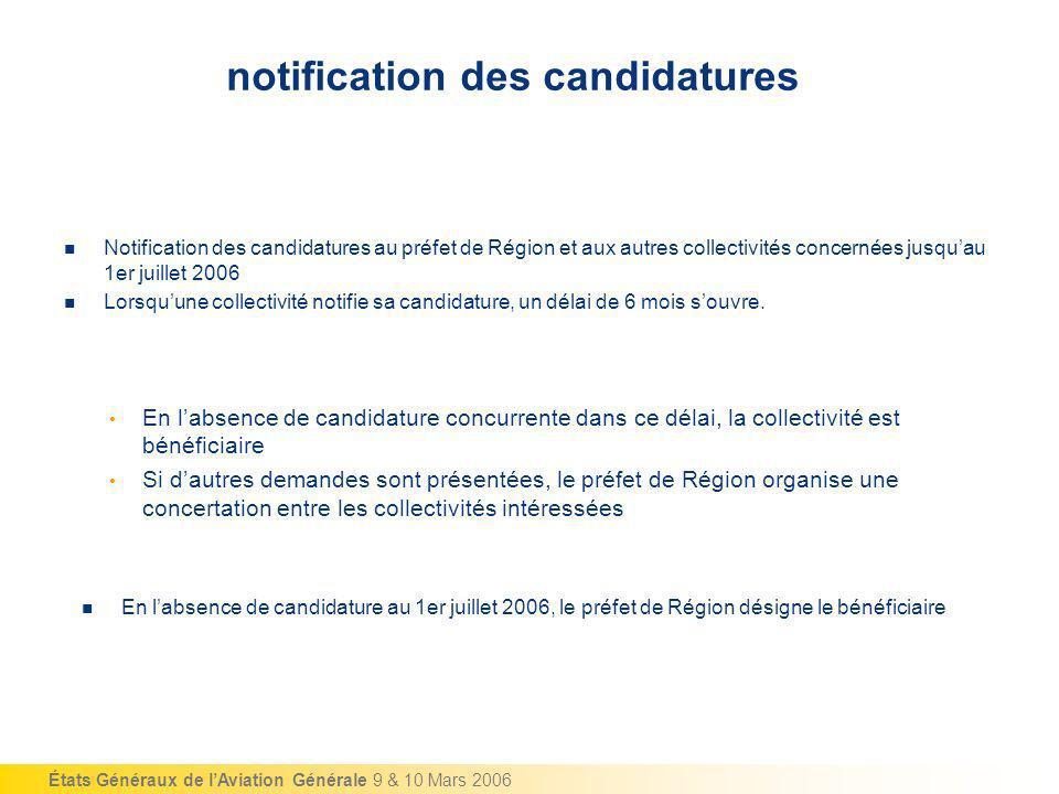 États Généraux de lAviation Générale 9 & 10 Mars 2006 notification des candidatures Notification des candidatures au préfet de Région et aux autres co