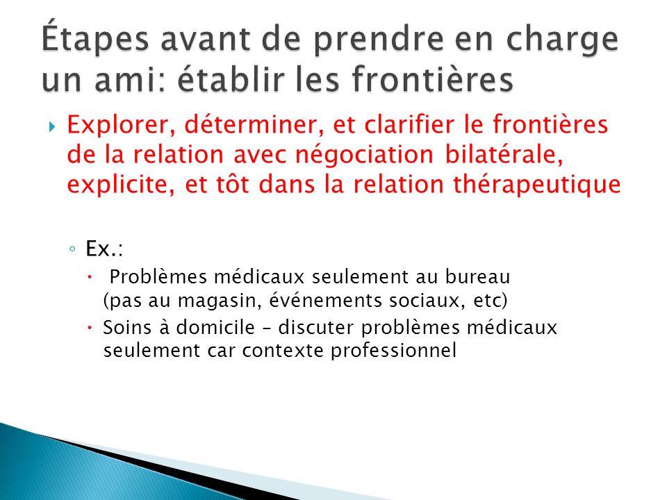 Explorer, déterminer, et clarifier le frontières de la relation avec négociation bilatérale, explicite, et tôt dans la relation thérapeutique Ex.: Pro