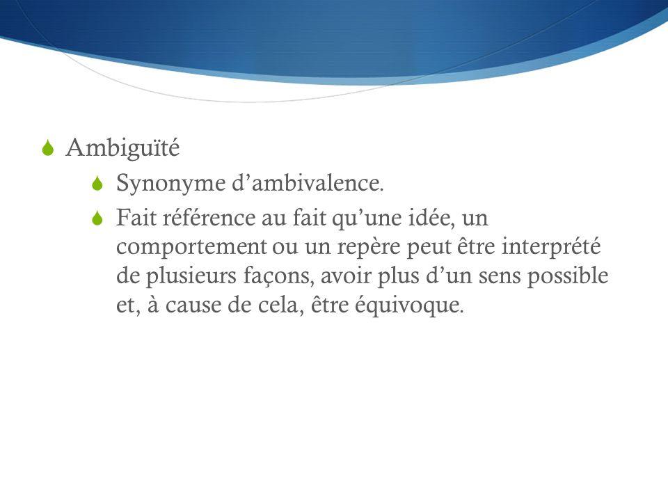 Ambiguïté Synonyme dambivalence. Fait référence au fait quune idée, un comportement ou un repère peut être interprété de plusieurs façons, avoir plus