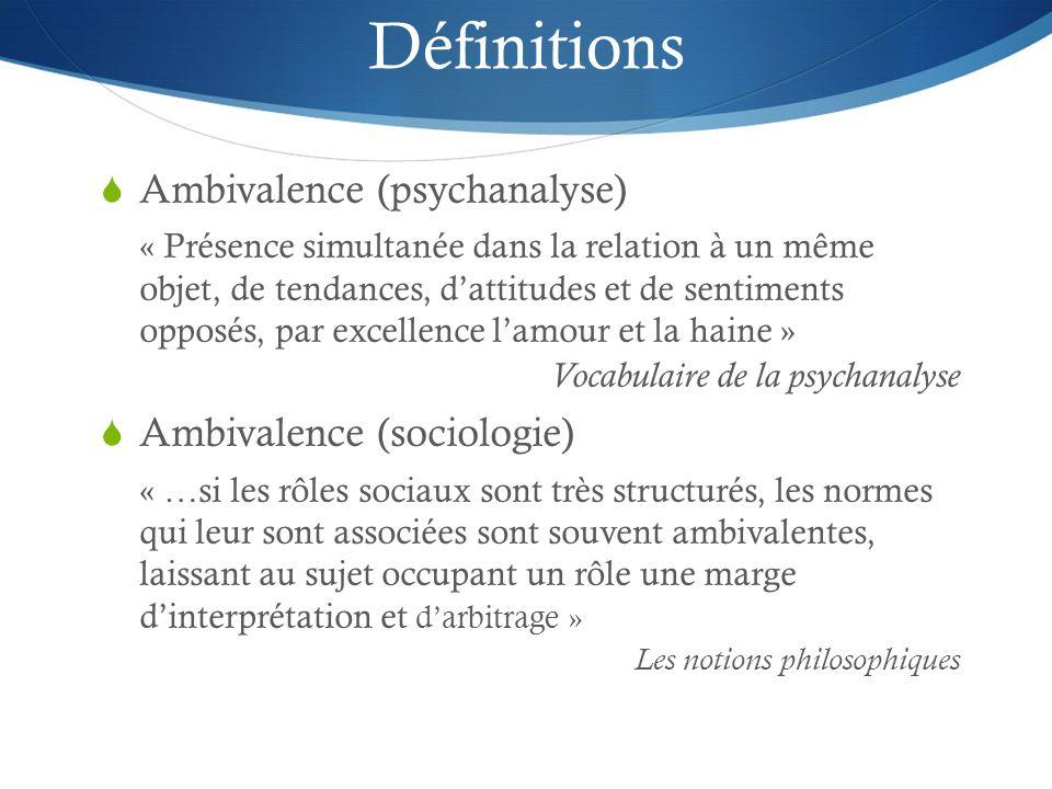 Définitions Ambivalence (psychanalyse) « Présence simultanée dans la relation à un même objet, de tendances, dattitudes et de sentiments opposés, par excellence lamour et la haine » Vocabulaire de la psychanalyse Ambivalence (sociologie) « …si les rôles sociaux sont très structurés, les normes qui leur sont associées sont souvent ambivalentes, laissant au sujet occupant un rôle une marge dinterprétation et darbitrage » Les notions philosophiques