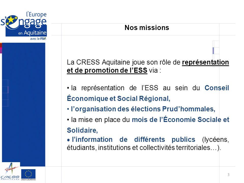 La CRESS Aquitaine a acquis une forte expérience de laccompagnement de structures que ce soit par : la gestion de la sous-mesure 10 B (Objectif 3 – Axe 6 du FSE Programmation 2000-2006) et sous – mesure 423 (Axe 4 du FSE Programmation 2007-2013), Lexpérience développée en tant que DLA (Dispositif Local dAccompagnement) de Bordeaux Centre et C2RA (Centre Régional de Ressource et dAnimation) du réseau aquitain des DLA, La coordination du programme RELIER du Conseil général de la Gironde, La mise en place de plans de Gestion Prévisionnelle des Emplois et des Compétences dans des structures adhérentes du Réseau Aquitain des Musiques Amplifiées (RAMA).