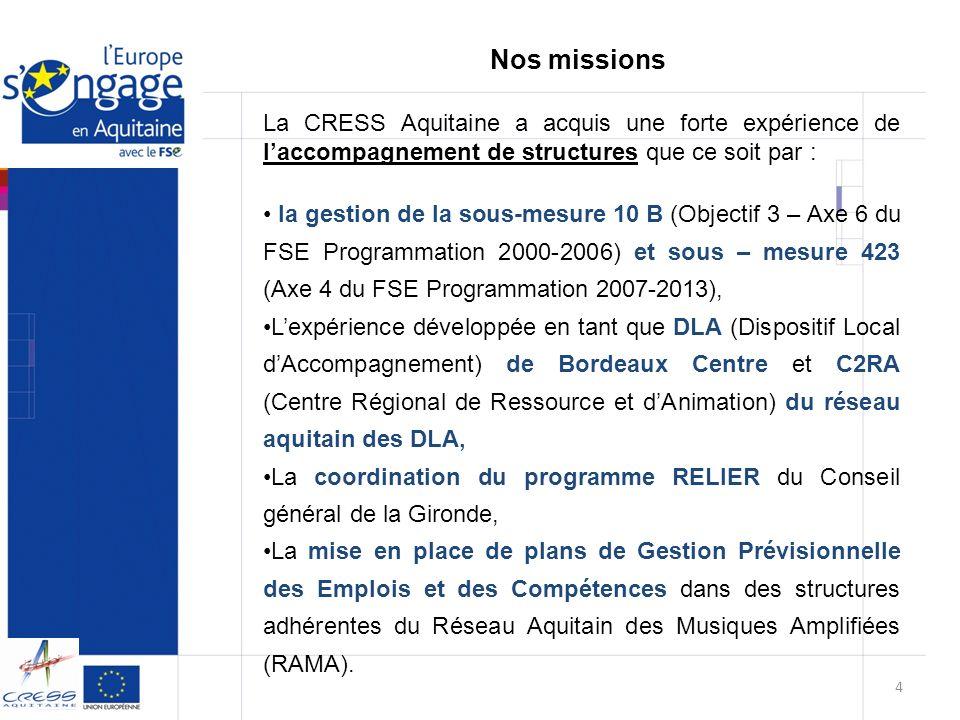 La CRESS Aquitaine a acquis une forte expérience de laccompagnement de structures que ce soit par : la gestion de la sous-mesure 10 B (Objectif 3 – Ax