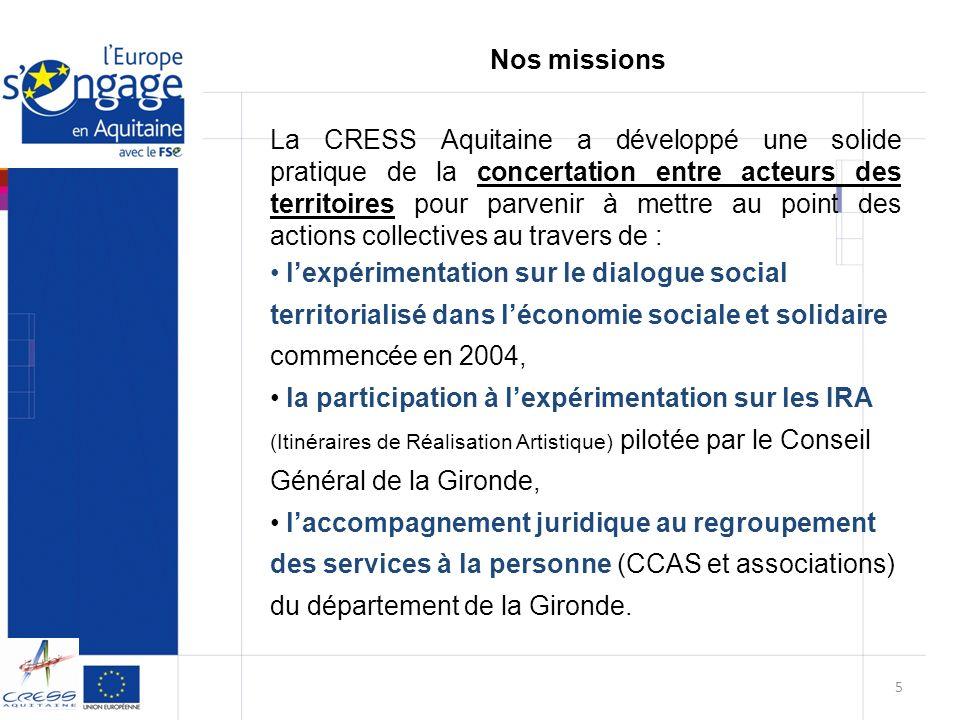 La CRESS Aquitaine a mené plusieurs études liées à léconomie sociale et solidaire.