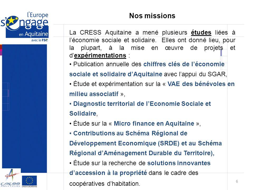 La CRESS Aquitaine a mené plusieurs études liées à léconomie sociale et solidaire. Elles ont donné lieu, pour la plupart, à la mise en œuvre de projet